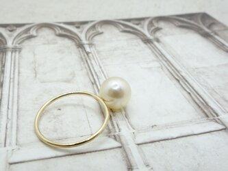 白蝶真珠 ゴールデンパール リングの画像