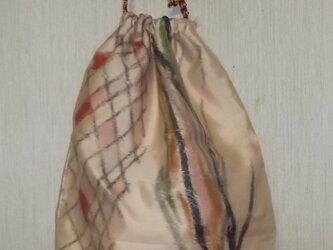 銘仙の着物地リメイク巾着バッグ(送料無料)の画像