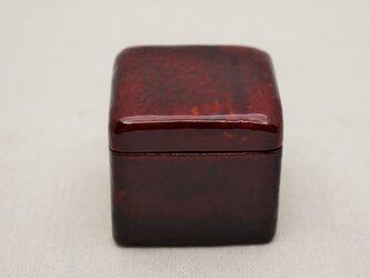 手彫小箱 マホガニー 赤漆黒漆溜塗の画像