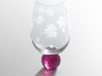 虹が出る東京切子(小) 桜 ワインレッドの画像