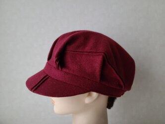 魅せる帽子☆ボルドー&ブラックのリバーシブルキャスケットの画像