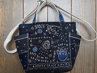 宇宙刺繍デニムミニトートショルダーの画像