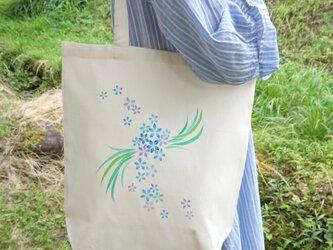 手描き オーガニックコットン エコバッグ「花の舞」の画像