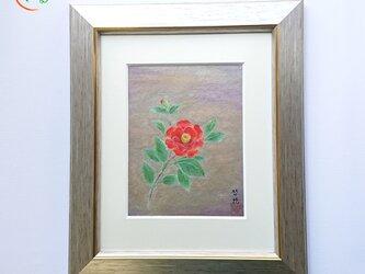 原画 額付 日本画「椿」の画像