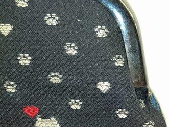 絹織物西陣織 3.3寸 銀糸ネコ一匹ハート赤表黒裏青の画像