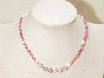 ピンクトルマリンと本真珠(淡水)、ラブラドライトのコンバーチブル・ネックレス(天然石、マグネット)の画像