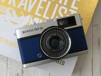 オリンパスTRIP35  ロイヤルブルーの姫路レザーに張り替えましたの画像