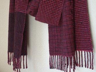 手織りカシミアストール・・バーブシュカ(イチゴジャム)の画像