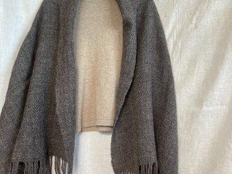 自然色 ウールショール 手紡ぎ手織り 天然素材 ナチュラルブラックの画像