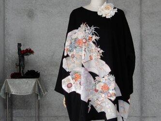着物リメイク カジュアル 黒留チュニックワンピース/フリーサイズ/大きめの画像