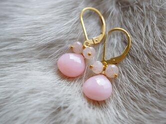 ピンクオパールピンクムーンストーンレバーバックピアス K14GFの画像