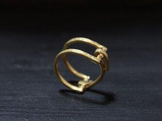 《在庫入荷》Square buckle ringハーフマット真鍮バックル リングの画像