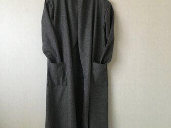 圧縮ウールガウンコート 杢チャコールグレーFの画像