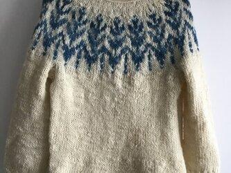 手紡ぎインディゴ染め 手編みセーターの画像