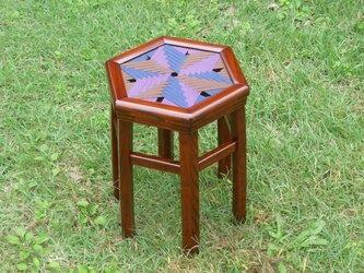 六角真田紐編み座スツールの画像