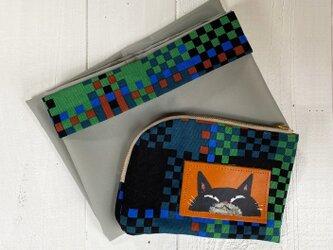 黒猫エコバッグ(収納ポーチ付)の画像