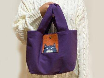 黒トラ猫うさ耳トートバッグ【紫】の画像
