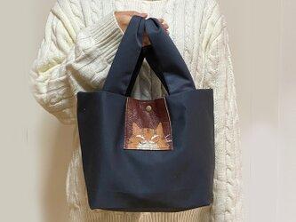 茶トラ猫うさ耳トートバッグ【グレイ】の画像