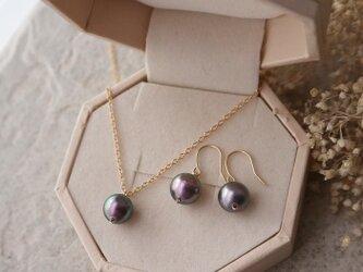 【K18】南洋真珠の一粒ピアス*6月誕生石の画像