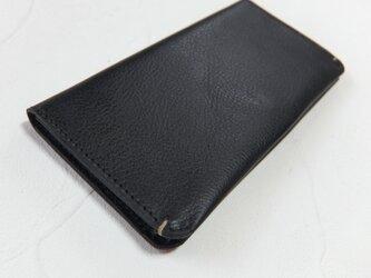 【受注生産】革の手触りを楽しむシンプルな長財布2つ折り Blackの画像