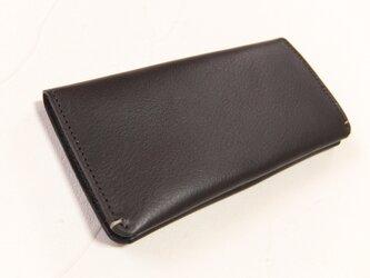 【受注生産】革の手触りを楽しむシンプルな長財布2つ折り Dark Brownの画像