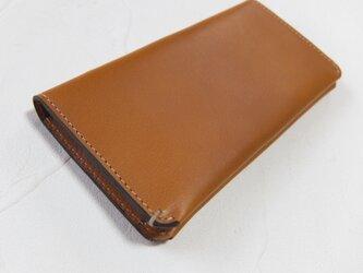 【受注生産】革の手触りを楽しむシンプルな長財布2つ折り Camelの画像