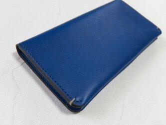 【受注生産】革の手触りを楽しむシンプルな長財布2つ折り Blueの画像