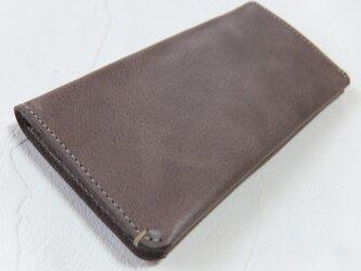 【受注生産】革の手触りを楽しむシンプルな長財布2つ折り Grayの画像