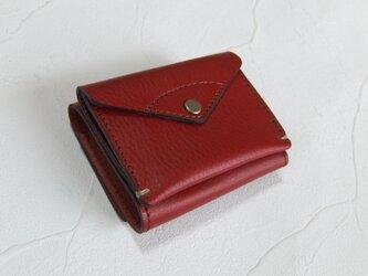 【受注生産】コンパクトな3つ折り財布 Redの画像