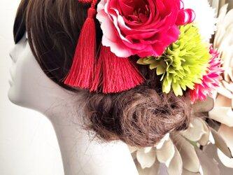 花kirari 椿とマムの髪飾り9点Set No766の画像