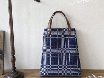 bag[手織りAライン手提げバッグ]ネイビーの画像