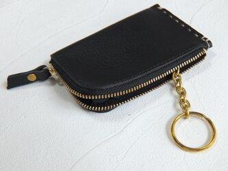 【受注生産】カードサイズのZipコインケース、キーリング付 Blackの画像