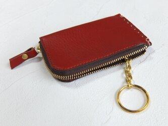 【受注生産】カードサイズのZipコインケース、キーリング付 Redの画像