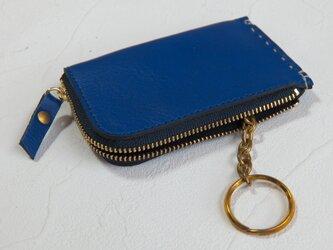 【受注生産】カードサイズのZipコインケース、キーリング付 Blueの画像