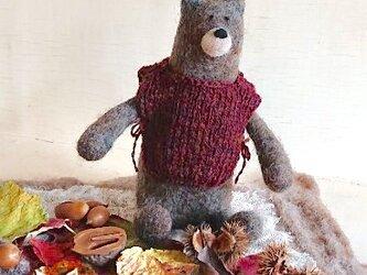 ベストを着たクマくん(羊毛シート付き)の画像