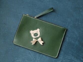 【可愛いくまちゃん】本革手縫い持ち手付きセカンドバッグ・クラッチバッグ・ 大収納財布 手染め / 総手縫い の画像