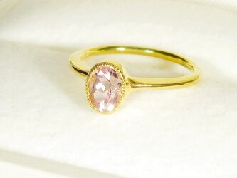 1.09ctクンツァイトとSV925の指輪(リングサイズ:11.5号、サイズ変更可、天然石、K18の厚メッキ、ミル打ち)の画像