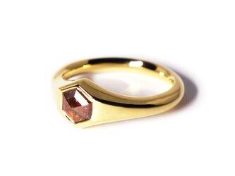 レッドダイヤ・ヘキサゴンK18ミニマルリング【Pio by Parakee】hexagon rustic diamondの画像