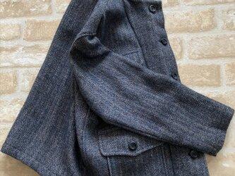 ウール・リネンヘリンボーン柄ショートジャケットの画像