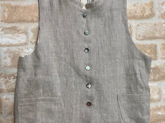 リネン綾織り生成り色ベストの画像