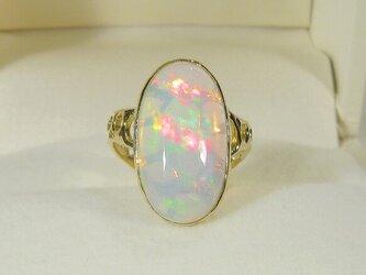 4.93ctオパールとK18イエローゴールドの指輪(リングサイズ:9号、天然石、10月の誕生石、強い発色)の画像