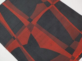 mi0047 銘仙・幾何学紋様ハギレ・90cm☆古布・古裂/絞り/錦紗縮緬/正絹/人絹/モスリンの画像