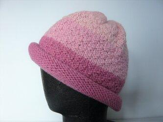 草木染毛糸の手編み帽子 AD-278の画像
