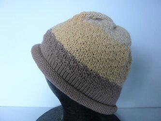草木染毛糸の手編み帽子 AD-279の画像