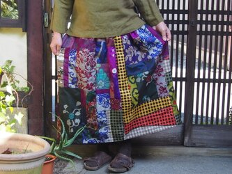 K様ご予約品☆大人のお出かけスカート☆銘仙パッチでレトロモダン♪80㎝丈の画像