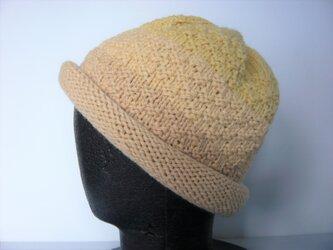 草木染毛糸の手編み帽子 AD-280の画像