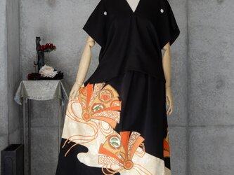 着物リメイク 黒留 カジュアルセットアップ/フリーサイズの画像