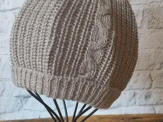 <KIDS>フワフワポンポンつきニット帽 ダークベージュの画像
