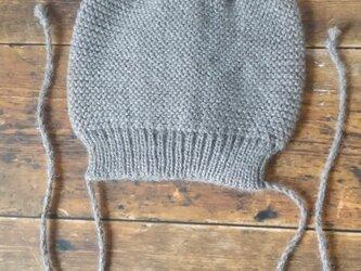 <KIDS>ベビーアルパカ100% ケーブル付きニット帽 ダークベージュの画像