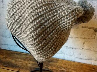 ベビーアルパカ100% ポンポンつきベーシックニット帽 グレー の画像